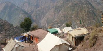 Tents on the hillside after the 2005 earthquake